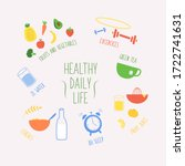 daily routines fittness  food... | Shutterstock .eps vector #1722741631