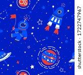 space vector seamless pattern.... | Shutterstock .eps vector #1722747967