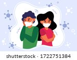 concerned unhappy people...   Shutterstock .eps vector #1722751384