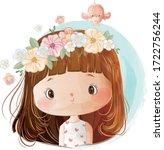 little girl wearing flower... | Shutterstock .eps vector #1722756244