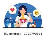 sweet girl eats instant noodles ... | Shutterstock .eps vector #1722790831