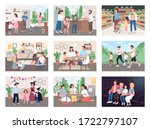 family routine flat color... | Shutterstock .eps vector #1722797107