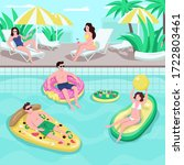 Pool Party Flat Color Vector...