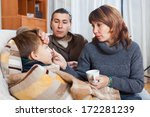 parents giving medicinal sirup... | Shutterstock . vector #172281239