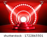 red award ceremony stage podium ... | Shutterstock .eps vector #1722865501