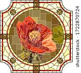 vector mosaic with blooming red ... | Shutterstock .eps vector #1722870724