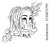 girl with black tears tattoo. | Shutterstock .eps vector #1722872794