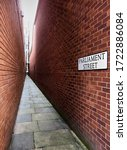 Small photo of PARLIAMENT STREET, EXETER, DEVON (UK): Narrowest Street in Britain and Perhaps Second Narrowest in the World, Named When the City Council Derided Parliament for the 1832 Reform Bill. AUGUST 19, 2016
