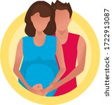 newlyweds are expecting a baby. ... | Shutterstock .eps vector #1722913087