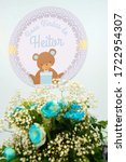 Small photo of Rio de Janeiro, Brazil - 12/10/2016: Teddy bear. Baby shower. It's a boy. Blue theme. Hector's welcome in portuguese language