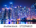 Busan, South Korea skyline at Haeundae District. - stock photo