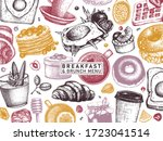 breakfast table banner in color.... | Shutterstock .eps vector #1723041514
