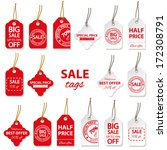 sale labels big set in red and... | Shutterstock .eps vector #172308791