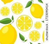vector seamless lemon pattern.... | Shutterstock .eps vector #1723090414