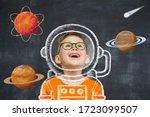 Little Child Boy Play Astronau...