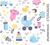 baby care accessories hand... | Shutterstock .eps vector #1723126231