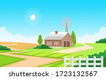 agriculture field farm rural...   Shutterstock .eps vector #1723132567