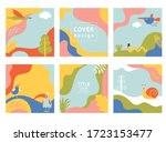 set  vector banners  cover... | Shutterstock .eps vector #1723153477