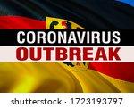 Novel coronavirus - 2019-nCoV on Deutschland flag, WUHAN virus concept. Coronavirus hazard concept with OUTBREAK OUTBREAK.3D rendering Chinese coronavirus outbreak. Deutschland flag background.