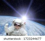 Astronaut And Beautiful Sunrise....