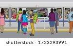 illustration of passengers... | Shutterstock .eps vector #1723293991