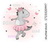 cute cartoon baby dino girl.... | Shutterstock .eps vector #1723320997