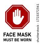 stop face mask must be worn or... | Shutterstock .eps vector #1723372561