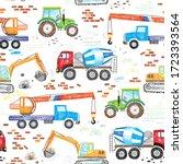 kids drawn construction trucks  ...   Shutterstock .eps vector #1723393564
