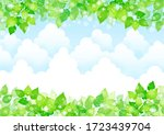 background of fresh leaves and... | Shutterstock .eps vector #1723439704