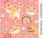 seamless pattern of cute shiba... | Shutterstock .eps vector #1723442461
