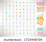 seo icon search engine... | Shutterstock .eps vector #1723448704