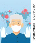 man wearing protective medical... | Shutterstock .eps vector #1723449454
