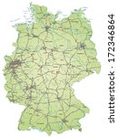 map of germany with highways in ... | Shutterstock . vector #172346864