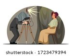 vintage photographer with retro ... | Shutterstock .eps vector #1723479394