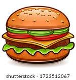 vector burger isolated cartoon... | Shutterstock .eps vector #1723512067