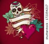 skull  hearts and flowers... | Shutterstock .eps vector #172354217