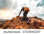 Success Woman Hiker Hiking On...