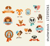 Pets vector icons - cats and dogs elements - stock vector