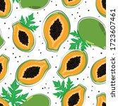 seamless pattern with papaya... | Shutterstock .eps vector #1723607461