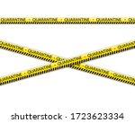 quarantine zone warning tape... | Shutterstock . vector #1723623334