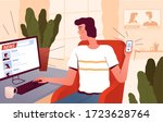 a young man sits at a computer... | Shutterstock .eps vector #1723628764