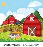 Farm Scene With Many Animals O...