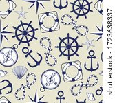 marine seamless pattern. wheel  ... | Shutterstock .eps vector #1723638337