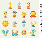 trophy and awards icons set. | Shutterstock .eps vector #172364531