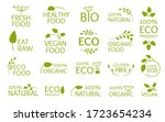 eco green logo set  icon with... | Shutterstock .eps vector #1723654234