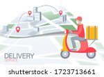 scooter city delivery box. walk ...   Shutterstock .eps vector #1723713661