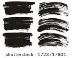 flat paint brush thin long  ... | Shutterstock .eps vector #1723717801