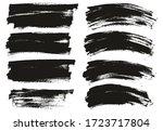 flat paint brush thin long  ... | Shutterstock .eps vector #1723717804