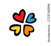set hearts in doodle style  ...   Shutterstock .eps vector #1723740004