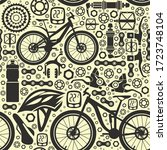 bicycles. seamless pattern of... | Shutterstock .eps vector #1723748104